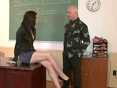 Tall brunette babe is giving a head to her perverted teacher
