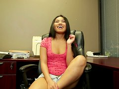 Impressive Deepthroat Blowjob in the Office by Asian Teen Cindy Starfall