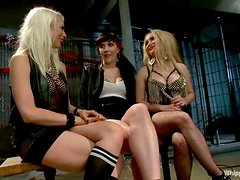 Two blondes and a brunette in great femdom video