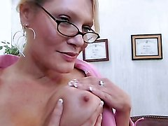 Bitch with glasses sucks cock & gets nailed