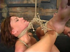 Nasty Holly Wellin gets suspended and toyed rough