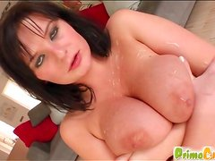 Two cumshots on big tits of cutie