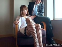 Japanese Babe in Fishnet Stockigns Risa Arisawa Pleasing Cock
