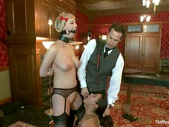 Blowjobs and Oral Action with Cherry Torn and Dana Vixen in BDSM Threesome