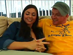 Brunette bitch sucks cock and gets nailed hard in the cunt!