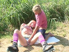 Sporty girl being throat-fucked