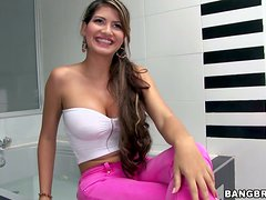 Natalie gets her big tits licked and enjoys ardent banging in a bathroom