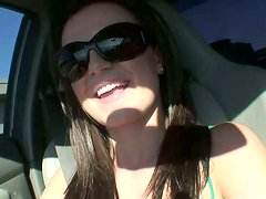 Whorish bitch Denice K shows the cameltoe in the car