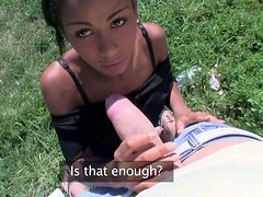 Mouth-watering ebony babe gives a head outdoor for money