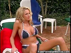 Busty Honey Cock Sucks and Gets Pussy Licked By The Pool