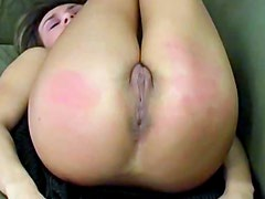 Real spanking turns her ass red