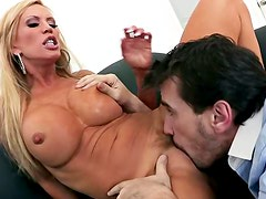 Alluring and pretty blonde likes titjob