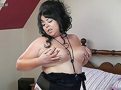 Big breasted UK mother fooling around