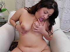 Chubby arab mom loves a big dildo up her hairy snatch