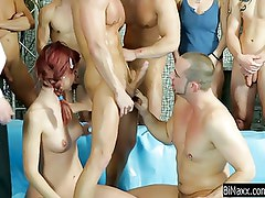 Nasty chicks share dicks in bisexual gangbang