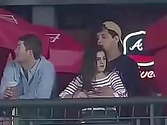 Touch her boobies during baseball game