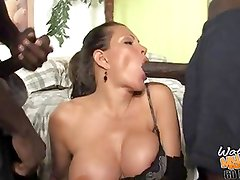 Mature BUSTY mom fucked by two blacks in front of son