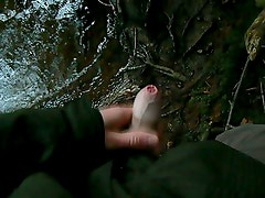 First wank and cum by the river
