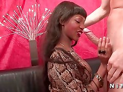 Big boobed french black slut gets anal fucked by a white guy