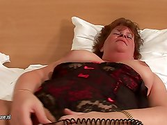 Big mature lady and her collection of toys