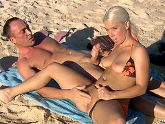 Amazing sex story on the beach with a charming beauty