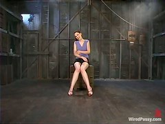 Two Dominatrices Playing with Cute Girl in Bondage Lesbian Femdom Vid