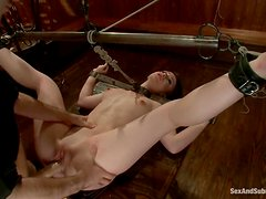Adorable Jennifer White gets tied up and fucked in a bar