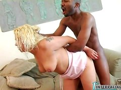 Diamond sucks a fat black cock and gets her snatch drilled doggy style