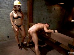 Chanel Preston bondages Steve and she has a strapon