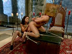 Nasty Skin Diamond ties the guy up and rides his dick