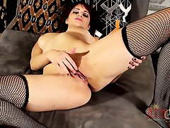 Brunette oriental Phoenix Askani takes sex toy in her pussy