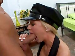 Uniformed Dylan Riley cops it - right up her tight moist twat hole