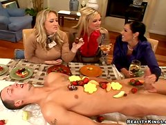 Three nasty women play with some dude's cock after a party
