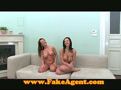 Two brunette chicks get rammed in all holes in threesome video