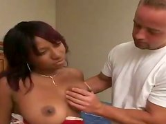 Busty black chick Kamay blows and gets fucked in many positions