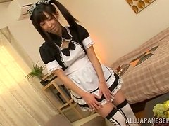 Wonderful Japanese Maid With Pigtails Licked In Her Wet Pussy