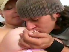 Chubby chick with big boobs gives a titjob and gets nailed