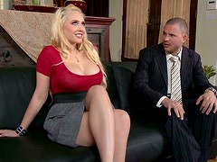 Hot Blondie with Big Boobs gives great blowjob