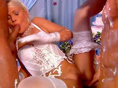 Messed up in cake blonde bride Kathy Anderson is fucked hard in threesome. MMF
