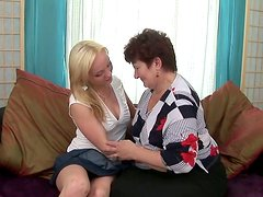 Young slut gets her sweet pussy eaten by an old woman