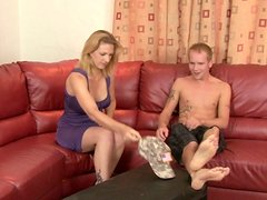 Mature blonde gives her lover the best blowjob of his life