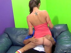 Slutty Teen Brunette With Socks Doing Doggystyle and Riding Cock