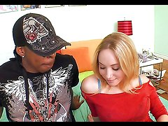 Blonde hottie's stuffed by a black monster cock