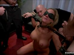 Busty blonde milf satisfies three men at a time and feels proud