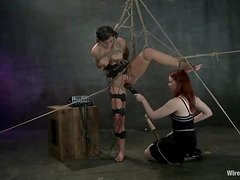 Submissive Bruentte Getting Toyed and Tortured by Redhead in Lesbo BDSM