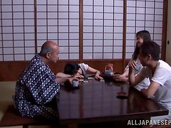 Perverted old fart seduces Marin Aono and bangs her