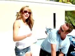 Shayla blows and leans against a bike to get her vag drilled from behind