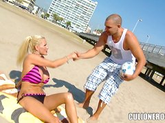 Busty blonde mom Sharon Pink fucks a guy and gets cum on her huge tits