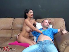 Priya Rai plays with a cock and gets loads of cum on her ass