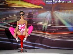 Masked girl makes erotic flexible tease porn